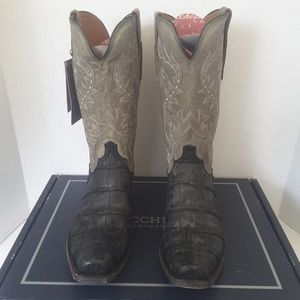 Lucchese black giant alligator charcoal boots 11D